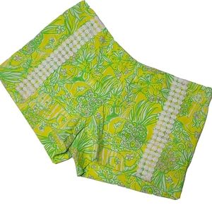 Lilly Pulitzer 2 Green Yellow Pineapple Shorts
